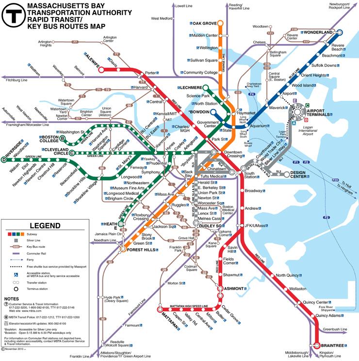 Metro S Subways And Underground Transport Maps Boston Mbta