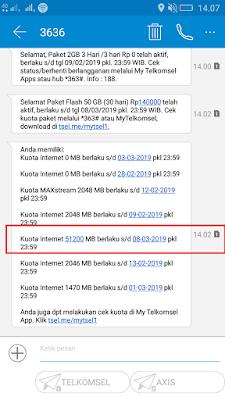 Bukti Pembelian Paket 50GB Telkomsel dari Tcash
