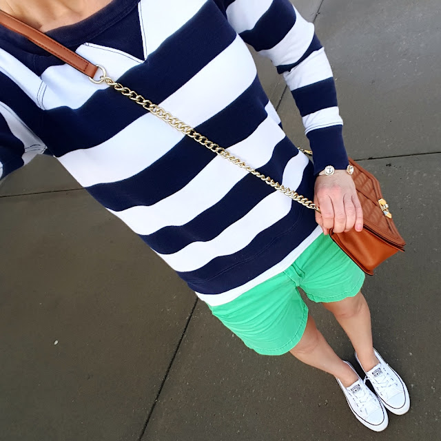Gap Striped Sweatshirt (current version) // Merona Shorts // Converse Tennis Shoes // Rebecca Minkoff Love Crossbody