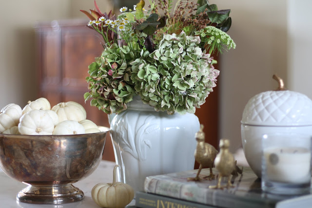fall coffee table white pumpkins green hydrangeas and fall accents