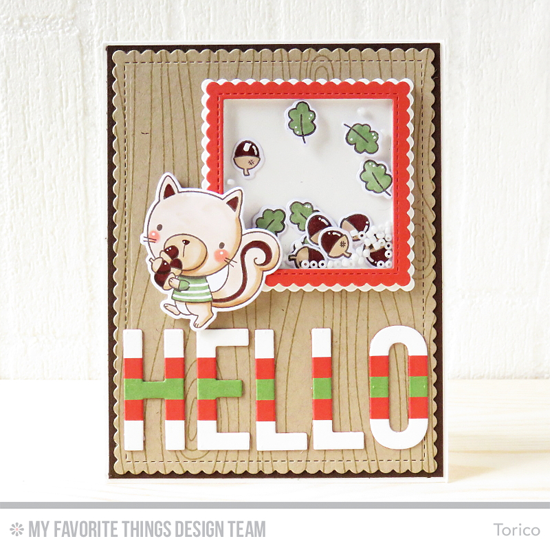 Handmade card from Torico featuring Harvest Buddies stamp set and Die-namics, Whimsical Woodgrain Background stamp, Big Hello, Stitched Square Scallop Edge Frames, Stitched Mini Scallop Square STAX, Stitched Square Scallop Frames, and Blueprints 27 Die-namics #mftstamps