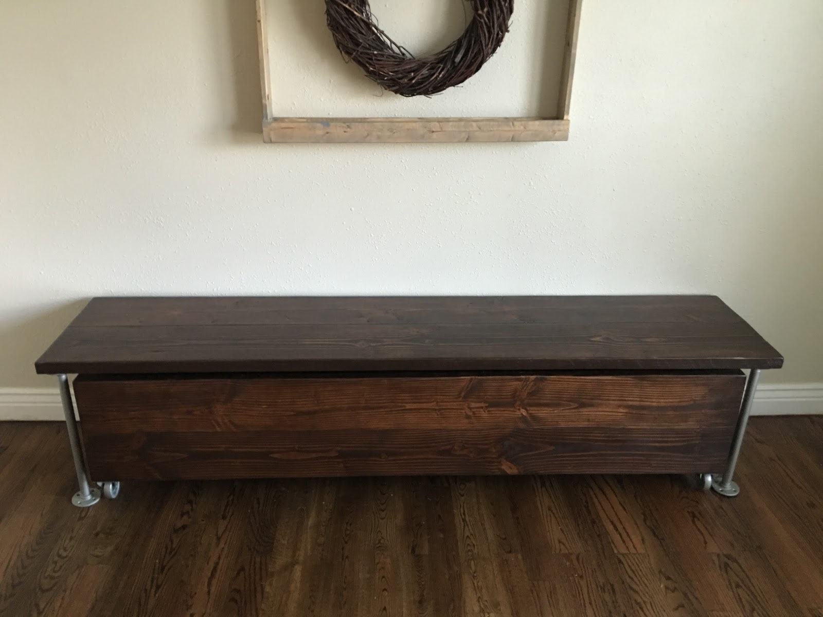 Pipe Bench with Pull Out Wooden Storage Hardy Home Reno