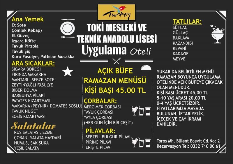ereğli uygulama oteli iletişim konya ereğli uygulama oteli fiyatları konya ereğli iftar menüleri konya ereğli restaurantlar
