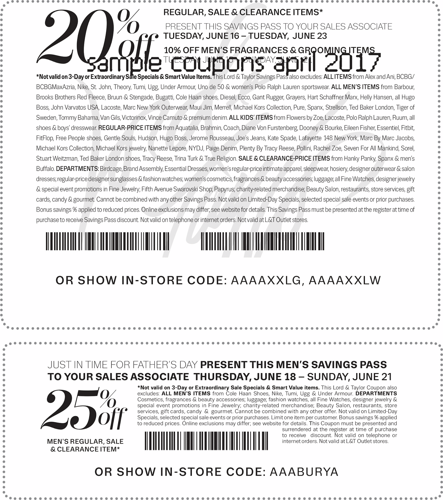 Lord & taylor coupons printable