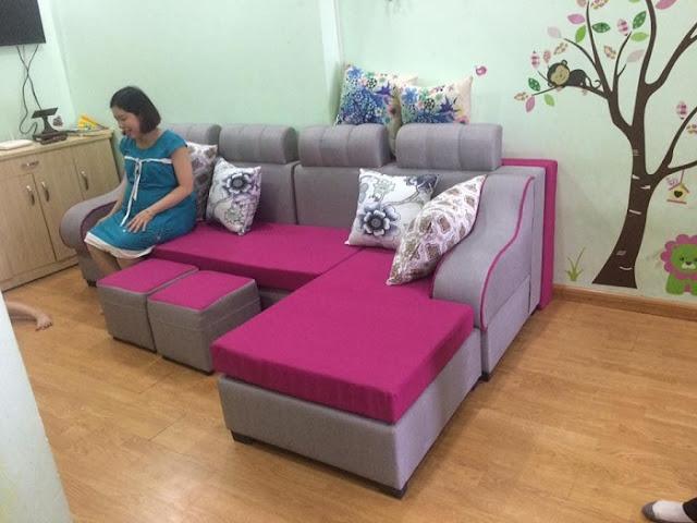 Hình ảnh cho bộ sản phẩm ghế sofa nỉ chữ L đẹp hiện đại khu vực Thanh Xuân, Hà Nội