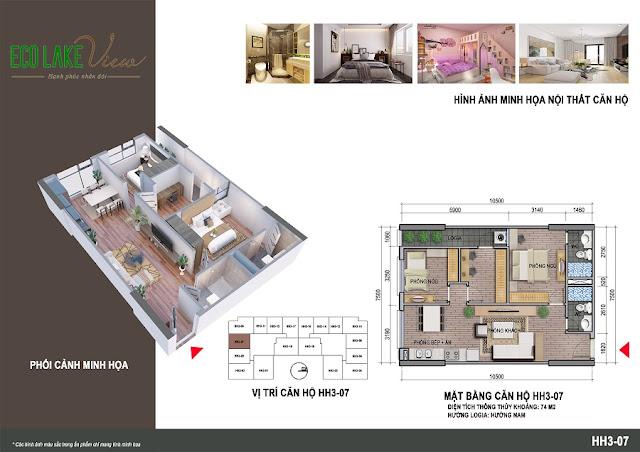 Thiết kế căn hộ 04 tòa HH-3 chung cư Eco Lake View