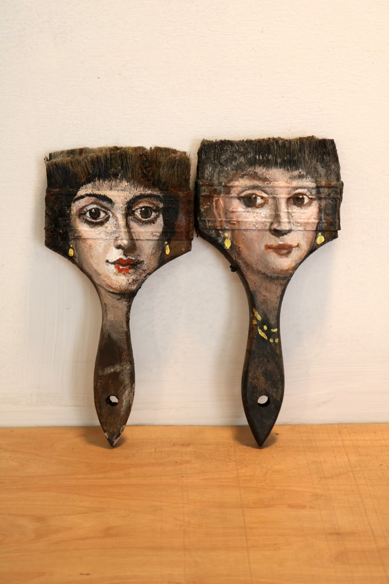 Portrait Paintings on unlikely objects by Alexandra Dillon from Los Angeles, California.