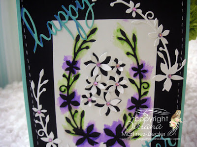 dies as stencils color with watercolors black card detail
