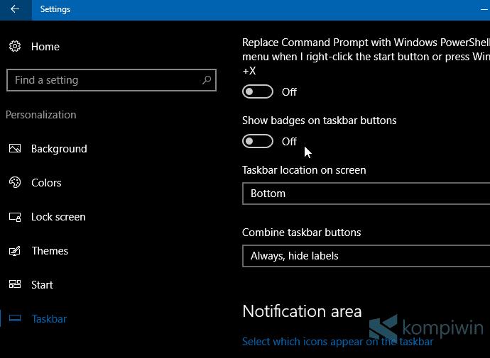 Cara Menyembunyikan Badge Angka Notifikasi di Taskbar 2