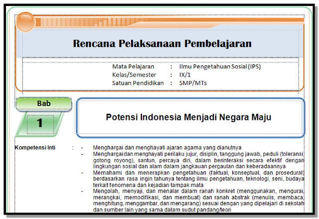 RPP, Silabus , KI dan KD , Prota, Promes KK 2013 IPS Kelas 9 SMP/MTs