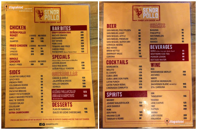 Menu for Senor Pollo