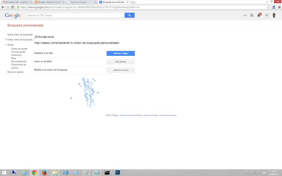 Finalizando creación de motor personalizado de Google