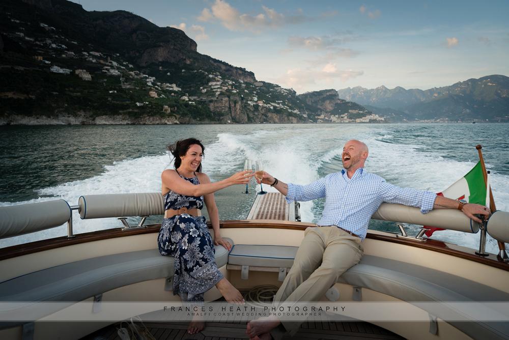 Romantic wedding boat trip