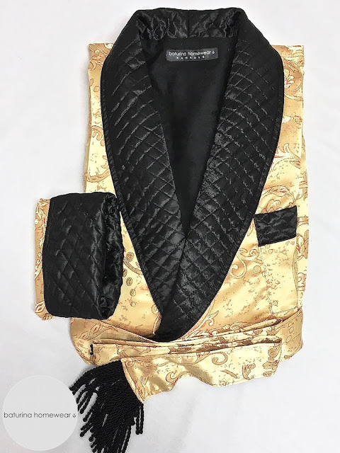 Men's paisley silk dressing gown quilted gentleman's robe in gold and black smoking jacket