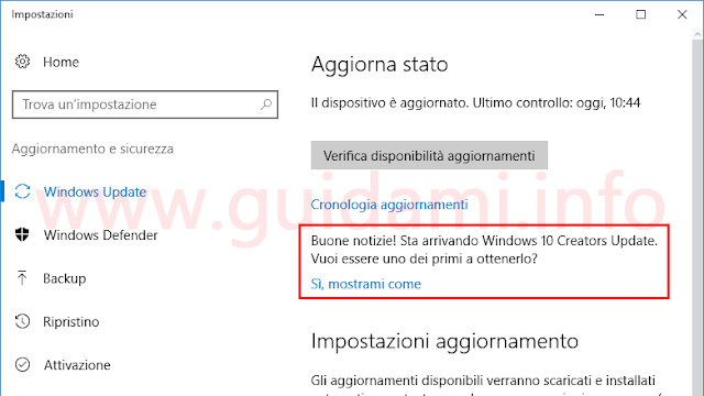 Windows Update Windows 10 messaggio Buone notizie sta arrivando Creators Update