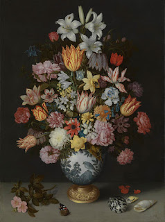 Ambrosius Bosschaert the Elder, 'A Still Life of Flowers in a Wan-Li Vase on a Ledge with further Flowers, Shells and a Butterfly', 1609-10