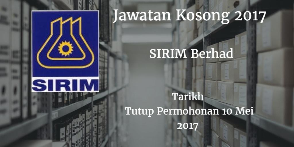 Jawatan Kosong SIRIM Berhad 10 Mei 2017