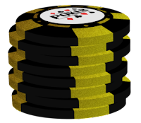 gold on black poker chip stack