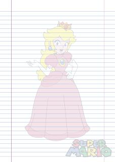 Folha Papel Pautado Princesa Peach em PDF para imprimir folha A4