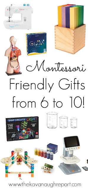 Montessori friendly gift ideas for ages 6 to 10!