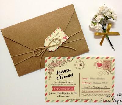convite artesanal personalizado aniversário infantil 15 anos casamento no campo rústico moderno diferente cartão postal post card viagem papelaria personalizada para festa scrapfesta scrap envelope kraft sisal