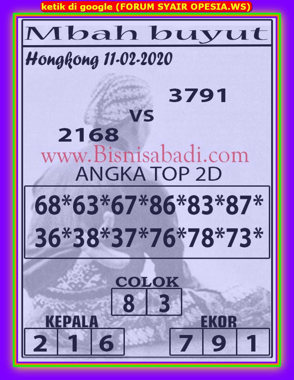 Kode syair Hongkong Selasa 11 Februari 2020 95