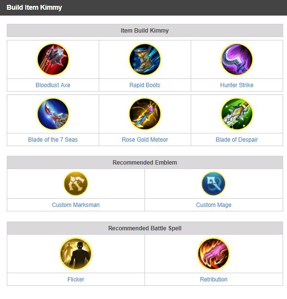 Best Kimmy Build Item | Mobile Legends (ML) - Valid Info Games