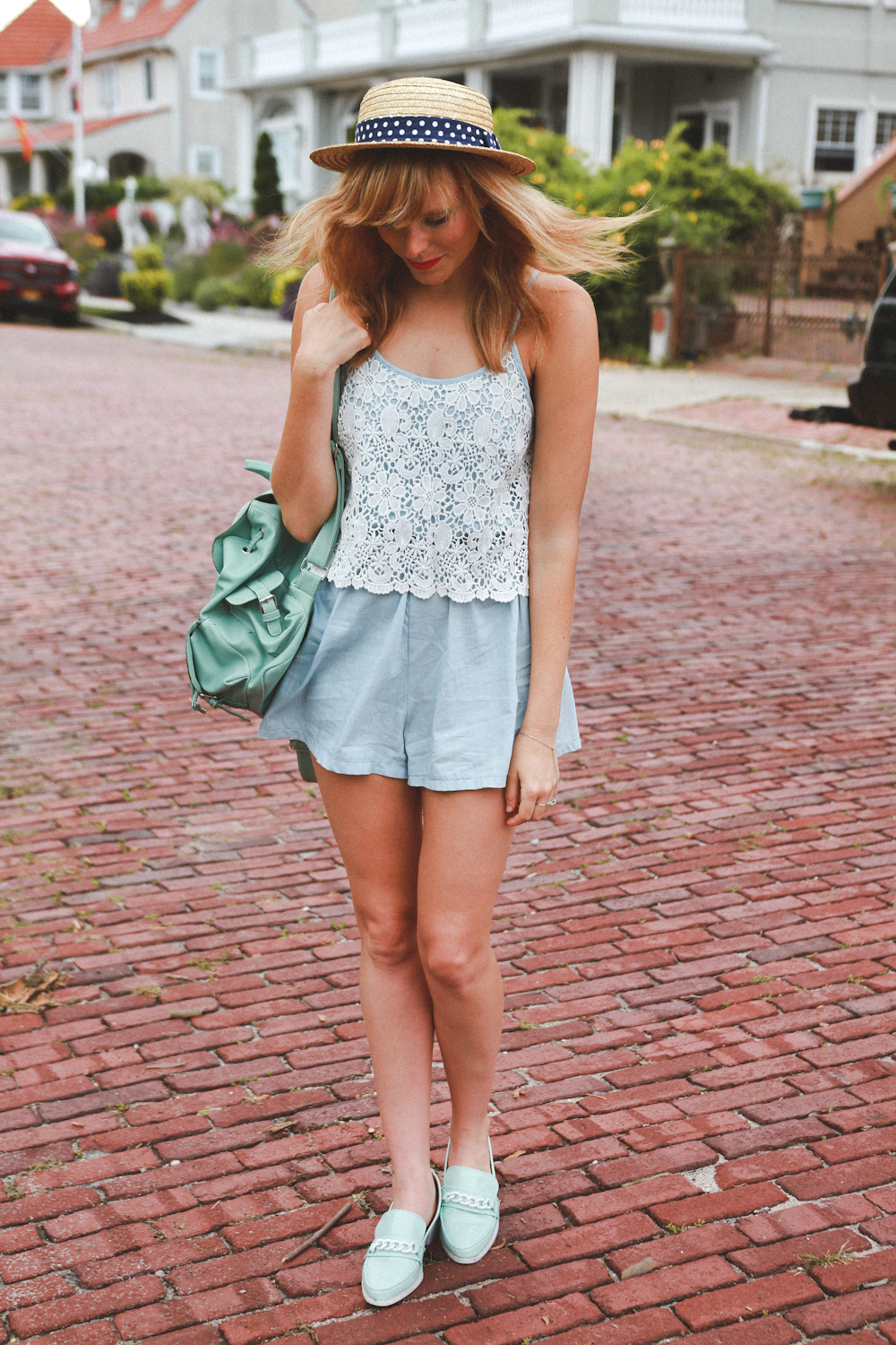 stelly romper, mint pointed flats, wanderlust + co, nyc fashion blogger, fashion blog nyc, long beach ny