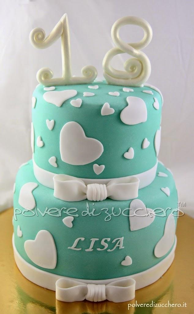 Torta decorata 18 compleanno a due piani polvere di for Torte di compleanno a due piani semplici