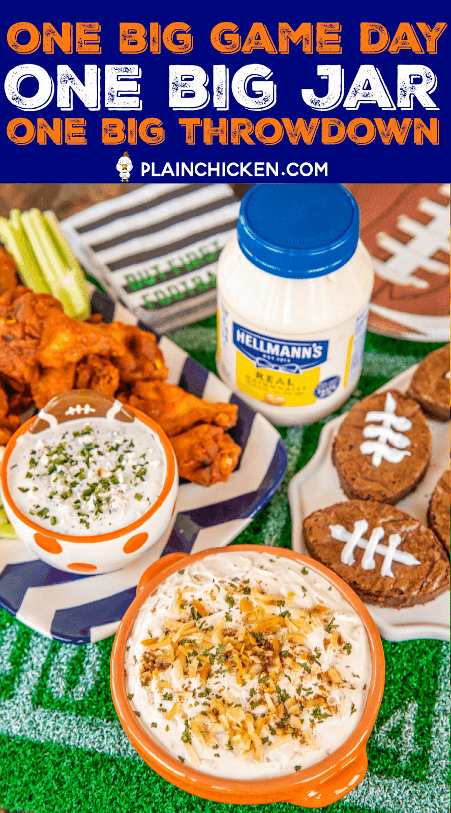 3 Easy Game Day Snacks made with Hellmann's/Best Foods Mayonnaise. 3 Ingredient Creamy Onion Dip, Blue Cheese Ranch Dip and Mayonnaise Brownies!