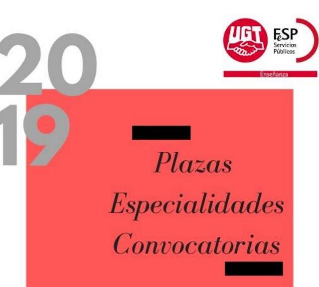 Oposiciones docentes 2019, Plazas y especialidades docentes convocadas 2019, Enseñanza UGT Ceuta, Blog de Enseñanza UGT Ceuta