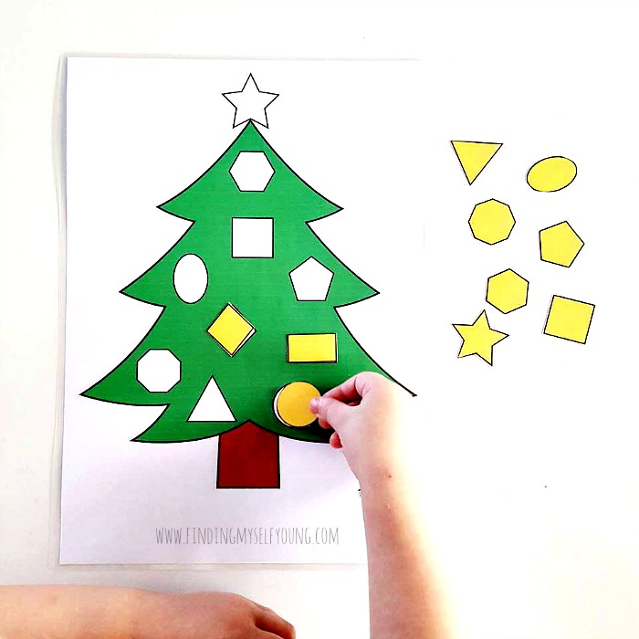 christmas tree shape matching printable