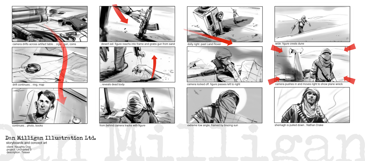 Story Board Trailer del videojuego Uncharted 3