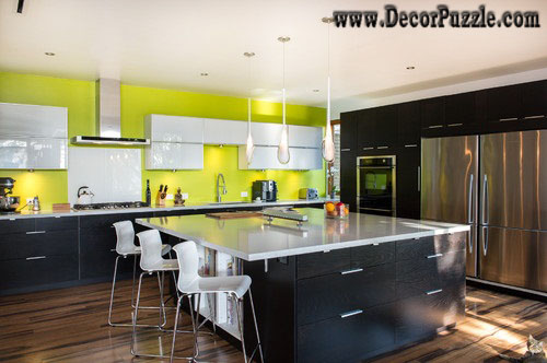 mid century modern kitchen, black and yellow kitchen design