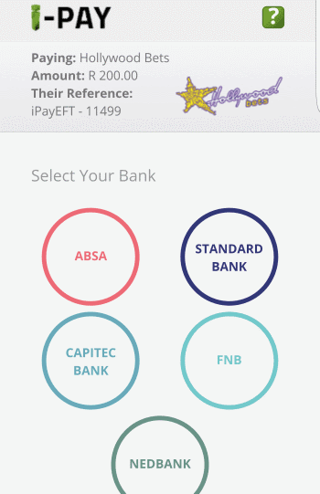 Select the bank you use for internet banking - iPAY Method - Hollywoodbets Mobisite