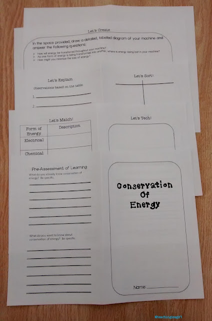 Photo of STUDENT PAGES FROM CONSERVATION OF ENERGY:Hands On Minds On Science Centers @teachingisagift.blogspot.ca