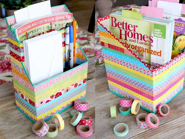 Renkli Bantlarla Kutudan Organizer Yapımı 7