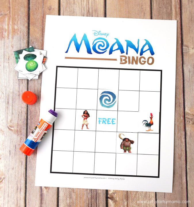 graphic about Disney Bingo Printable called Totally free Printable Disney Moana Bingo artsy-fartsy mama