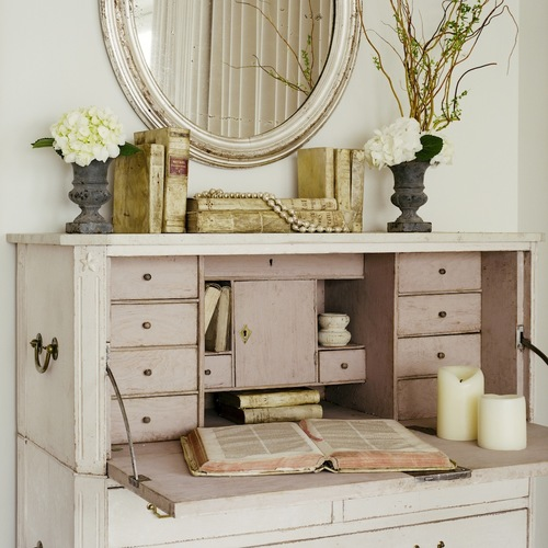 Pink painted Swedish antique secretary desk from Giannetti Home