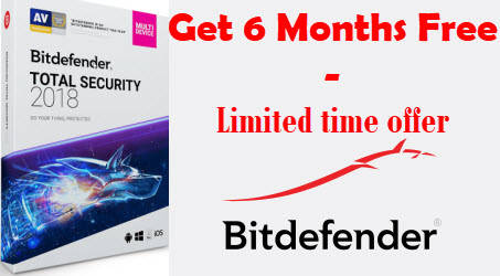 Get 6 months subscription of Bitdefender Total Security 2018!