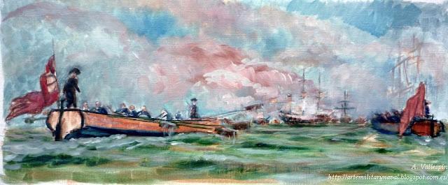 Boceto al óleo Blas de Lezo derrota a los británicos