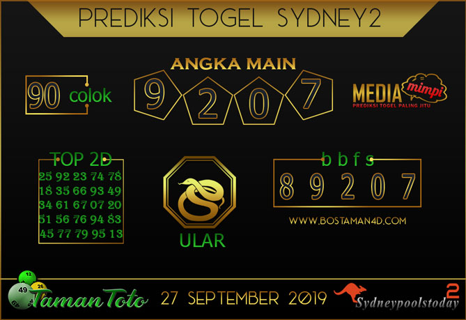 Prediksi Togel SYDNEY 2 TAMAN TOTO 27 SEPTEMBER 2019