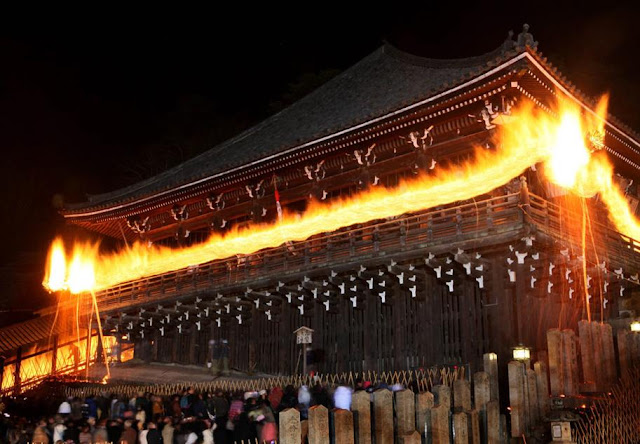 Omizutori, a Water-Drawing Ritual, at Nigatsu-do Hall in Todaiji Temple, Nara