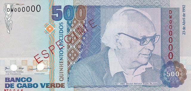 Currency of Cape Verde 500 Escudos banknote 1992 Baltasar Lopes da Silva