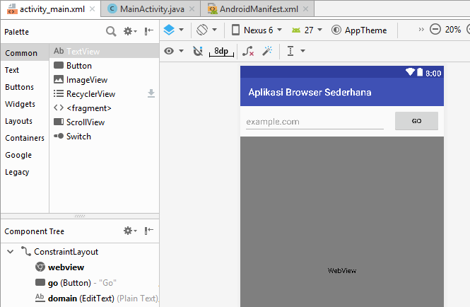Gambar Design Aplikasi Browser Sederhana Android Studio Gambar Design activity_main.xml