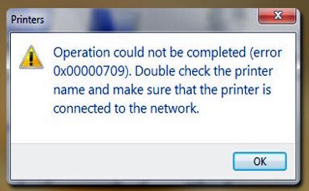Printer Tidak Bisa Set Default dan Error 0x00000709
