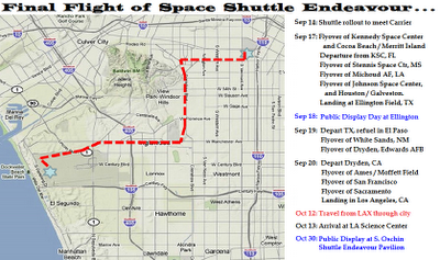 Space Shuttle Endeavour Los Angeles Parade Route
