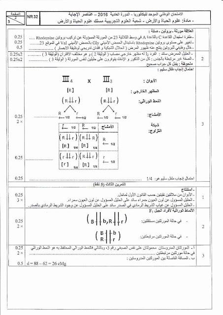حل الامتحان الوطني 2016  مسلك علوم الحياة و الأرض  الدورة العدية
