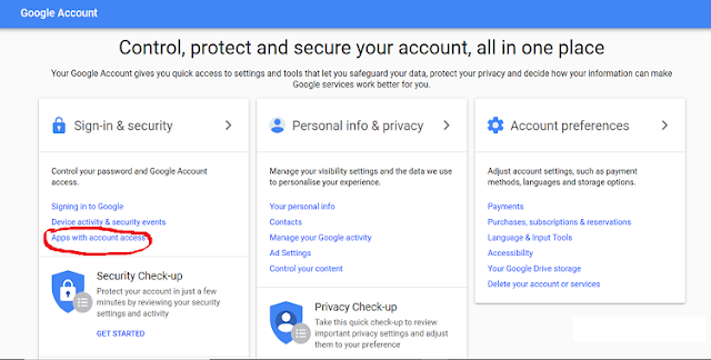 check google apps with account access