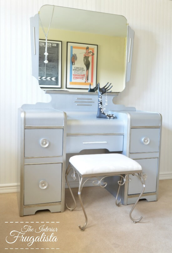 9 Creative Desk Makeovers - Art Deco Waterfall Hollywood Glam Vanity